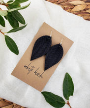 Load image into Gallery viewer, Black Braided Leather Leaf Earrings