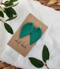 Load image into Gallery viewer, Vibrant Green Textured Suede Leather Leaf Earrings