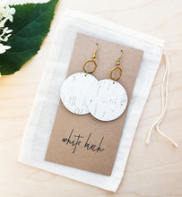 Load image into Gallery viewer, White Cork Leather & Brass Hexagon Dangle Earrings