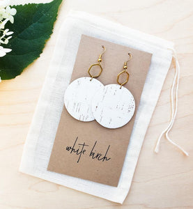 White Cork Leather & Brass Hexagon Dangle Earrings