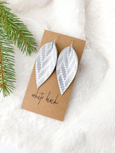 Load image into Gallery viewer, Silver Chevron Pattern Leather Leaf Earrings