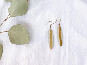 Beige Leather and Brass Bar Earrings
