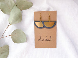 Dark Grey Leather and Brass Half Moon Stacked Earrings
