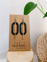 Load image into Gallery viewer, Dark Green Leather Oval & Brass Bar Geometric Earrings