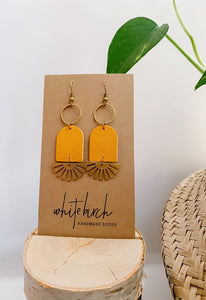 Mustard Yellow Leather & Brass Sunburst Geometric Earrings