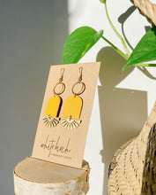 Load image into Gallery viewer, Mustard Yellow Leather & Brass Sunburst Geometric Earrings