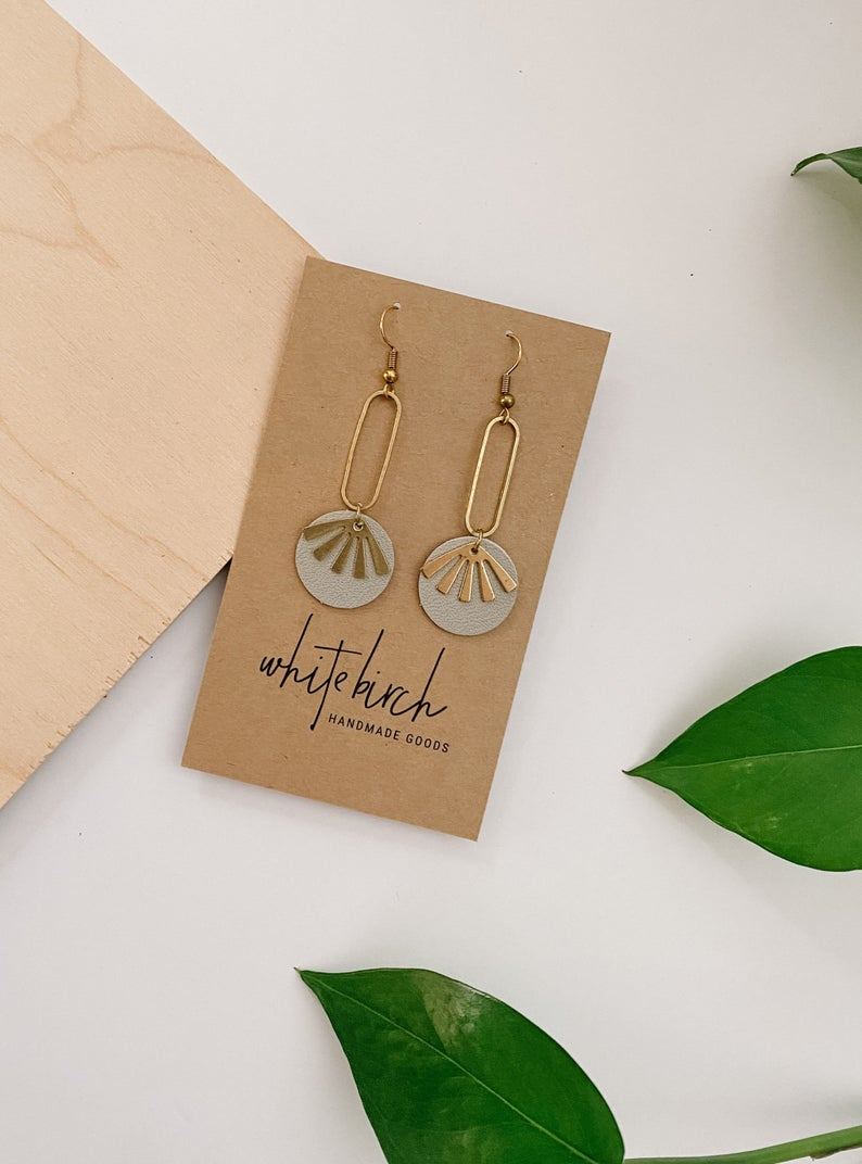 Primer Grey Leather & Brass Sunburst Geometric Earrings