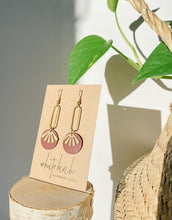 Load image into Gallery viewer, Burgundy Leather & Brass Sunburst Geometric Earrings