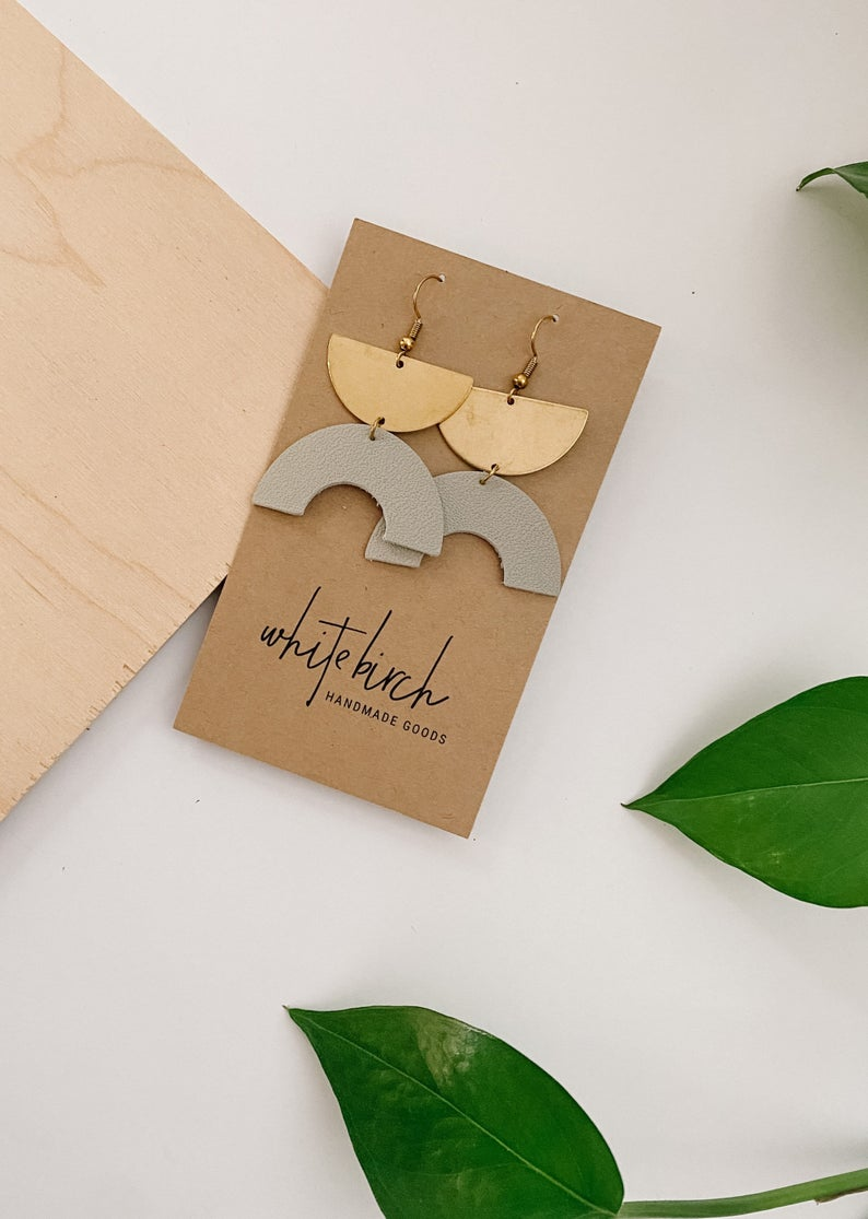Primer Grey Leather Half Circle & Brass Half Moon Earrings