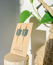 Load image into Gallery viewer, Dark Green Leather & Brass Bar Geometric Earrings