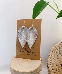 Silver Mosaic Metallic Leather Leaf Earrings