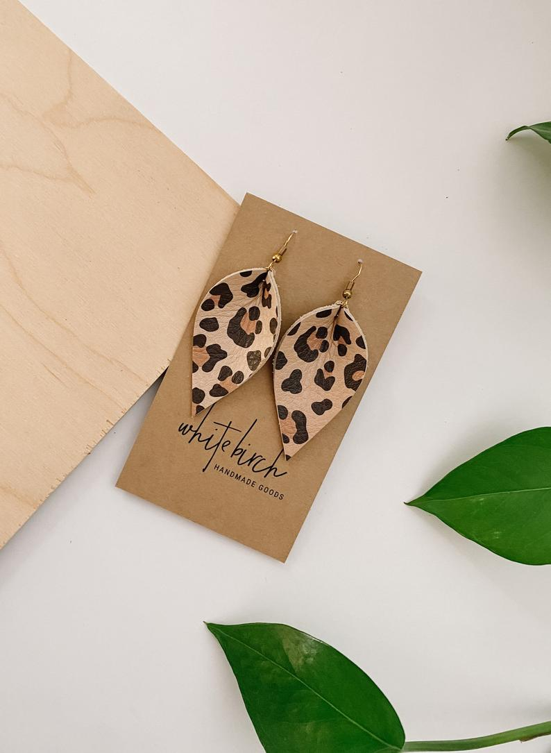 Cheetah Print Leather Leaf Earrings