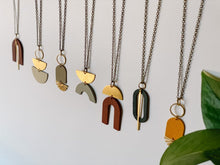 Load image into Gallery viewer, Geometric Brass Sunburst Mustard Yellow Leather Necklace