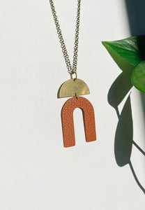 Geometric Terra Cotta Leather Arch Brass Accent Necklace