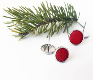 Ruby Red Jewel Tone Leather Stud Earrings