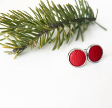 Load image into Gallery viewer, Ruby Red Jewel Tone Leather Stud Earrings