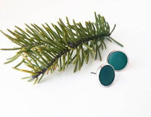Load image into Gallery viewer, Emerald Green Leather Stud Earrings