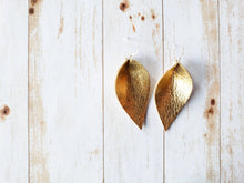 Load image into Gallery viewer, Gold Leaf Leather Earrings