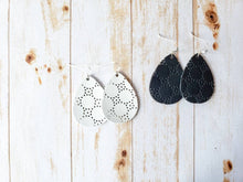 Load image into Gallery viewer, Cut Out Black Leather Teardrop Earrings