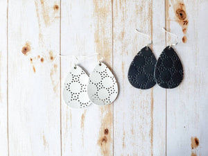 Cut Out Black Leather Teardrop Earrings