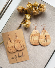 Load image into Gallery viewer, Rose Gold Metallic Cork and Leather Teardrop Earrings