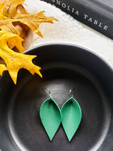 Load image into Gallery viewer, Emerald Green Leather Leaf Earrings