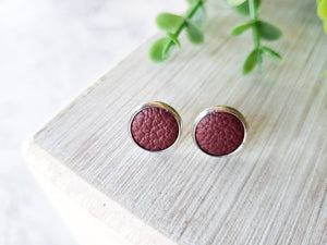 Burgundy Leather Stud Earrings