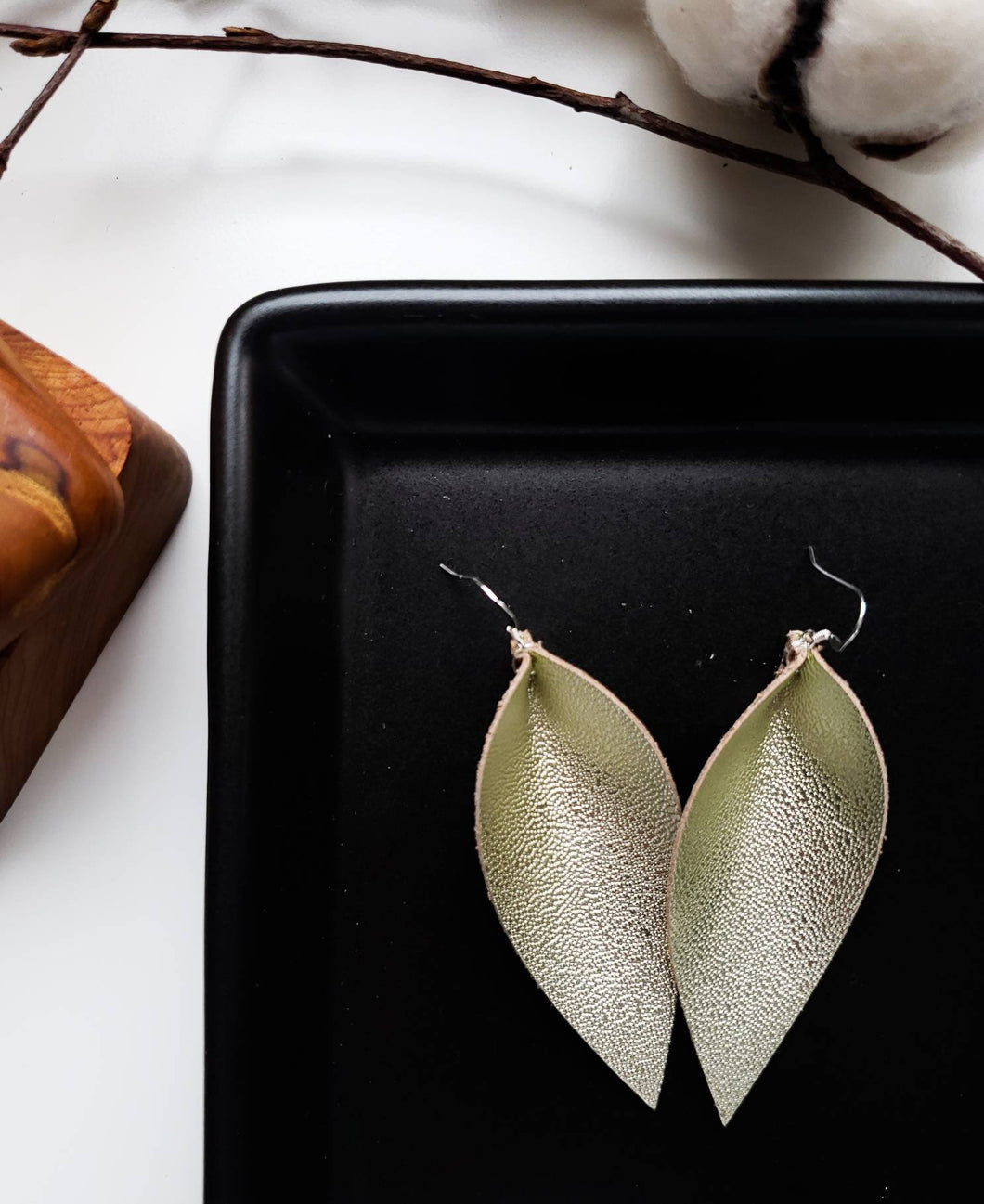 Champagne Gold Leather Leaf Earrings
