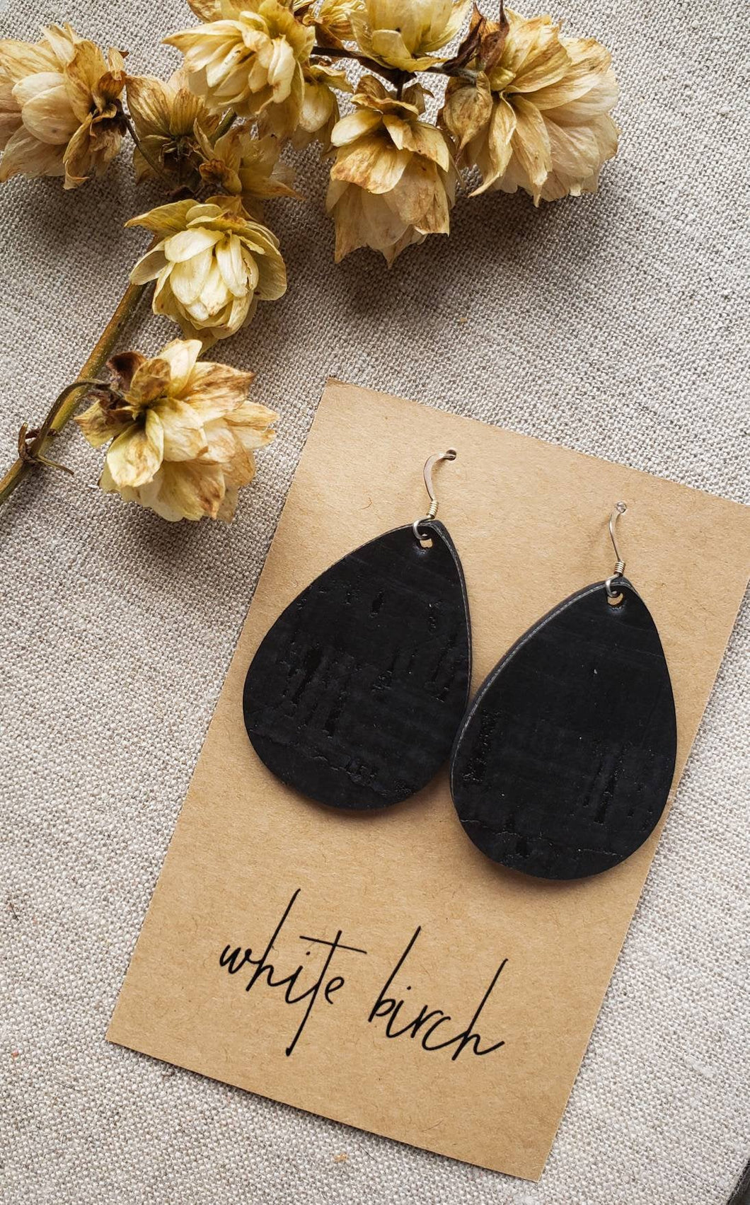 Black Cork Leather Teardrop Earrings