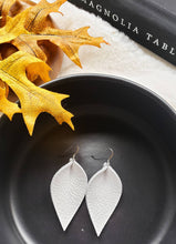 Load image into Gallery viewer, White Leather Leaf Earrings