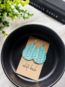 Teal Braided Leather Teardrop Earrings