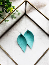 Load image into Gallery viewer, Robins Egg Blue Teal Leather Leaf Earrings