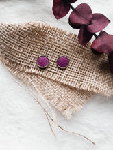 Load image into Gallery viewer, Plum Leather Stud Earrings