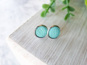 Aqua Blue Leather Stud Earrings