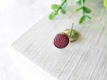 Load image into Gallery viewer, Burgundy Leather Stud Earrings