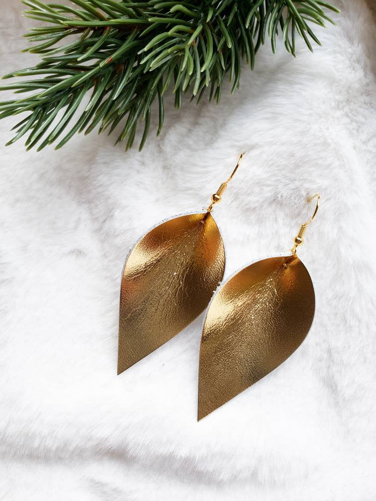 Gold Leaf Leather Earrings