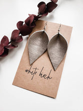 Load image into Gallery viewer, Platinum Embossed Metallic Leather Leaf Earrings