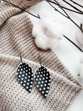 Load image into Gallery viewer, Black Polka Dot Leather Leaf Earrings