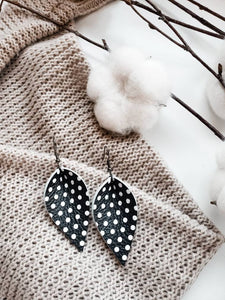 Black Polka Dot Leather Leaf Earrings