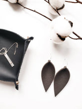 Load image into Gallery viewer, Pebble Brown Leather Leaf Earrings
