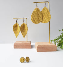 Load image into Gallery viewer, Light Yellow Textured Leather Teardrop Earrings