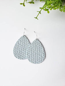 Light Blue Textured Suede Leather Teardrop Earrings