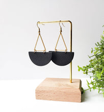 Load image into Gallery viewer, Large Black Leather Half Moon & Brass Triangle Dangle Earrings