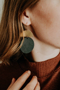 Black Leather Disc & Brass Half Moon Stacked Dangle Earrings