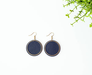 Black Leather Disc & Brass Circle Earrings
