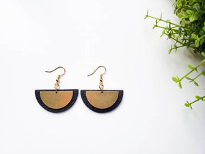Geometric Fan Shaped Black Leather & Brass Dangle Earrings