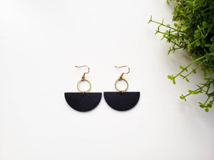 Black Leather Half Moon & Brass Circle Dangle Earrings