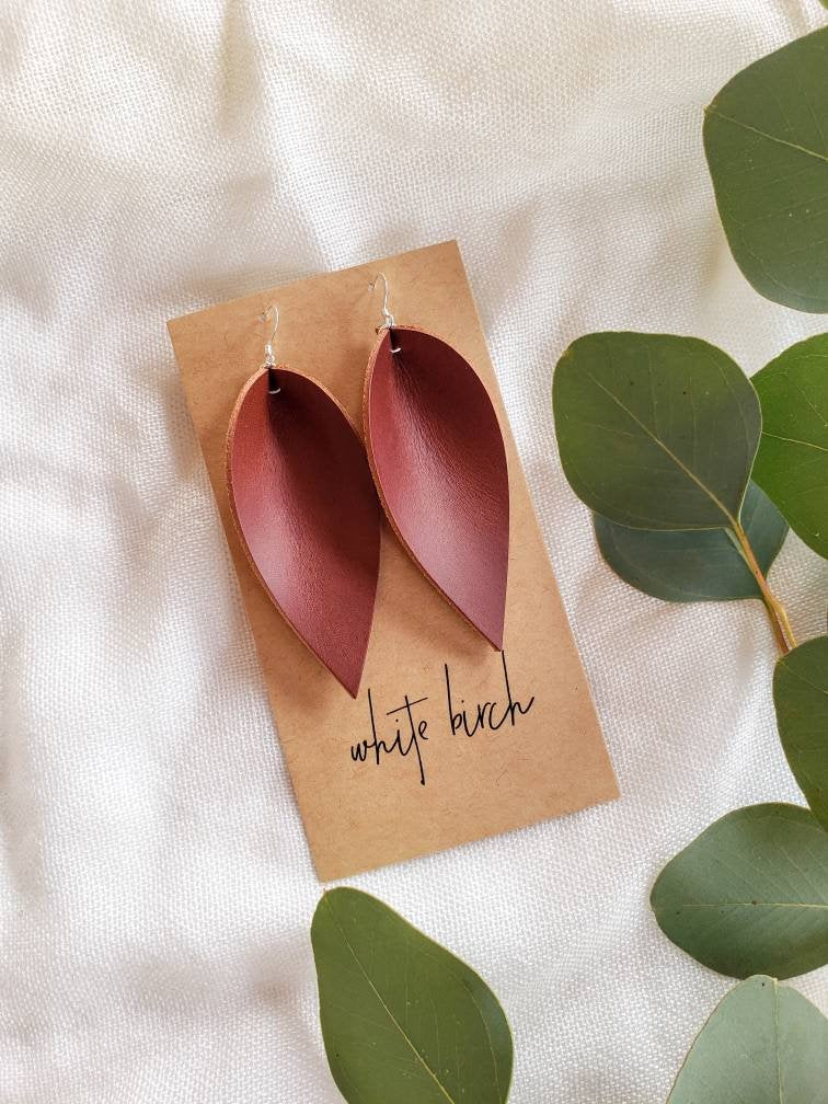 Cherry Brown Leather Leaf Earrings