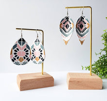 Load image into Gallery viewer, Spanish Print Leather Teardrop Earrings