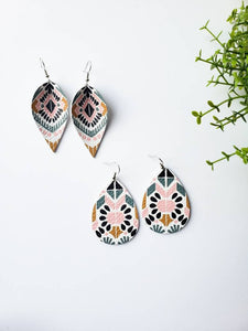 Spanish Print Leather Teardrop Earrings